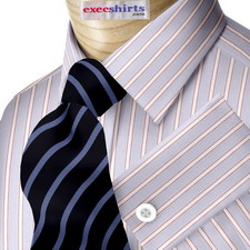 Striped Lt. Blue/Red Dress Shirt With Neck Tie