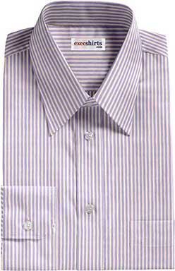 Lt. Blue/Striped Dress Shirts With Neck Tie