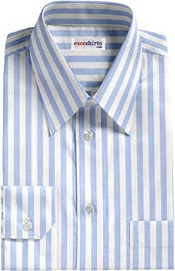 Light Blue Large Striped Dress Shirt With Neck Tie