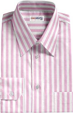 Light Pink Large Striped Dress Shirt With Neck Tie
