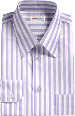 Light Purple Large Striped Dress Shirt With Neck Tie