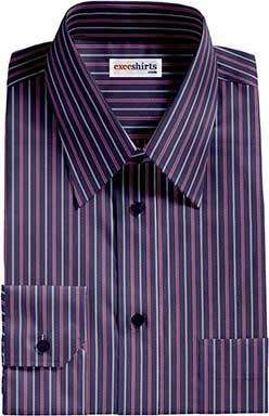 Navy/Red Striped Dress Shirts With Neck Tie
