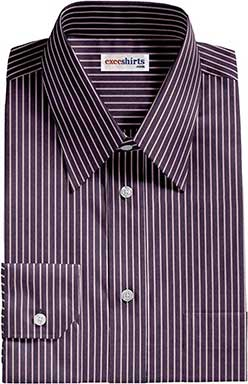 Navy Blue Striped Dress Shirts With Neck Tie