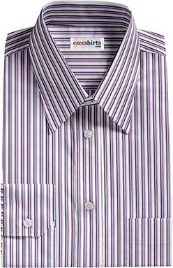Navy/Purple Striped Dress Shirt With Neck Tie