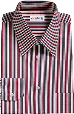 Navy/Red Striped Dress Shirt With Neck Tie