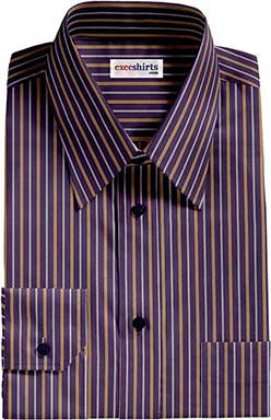Navy/Yellow Striped Dress Shirt With Neck Tie