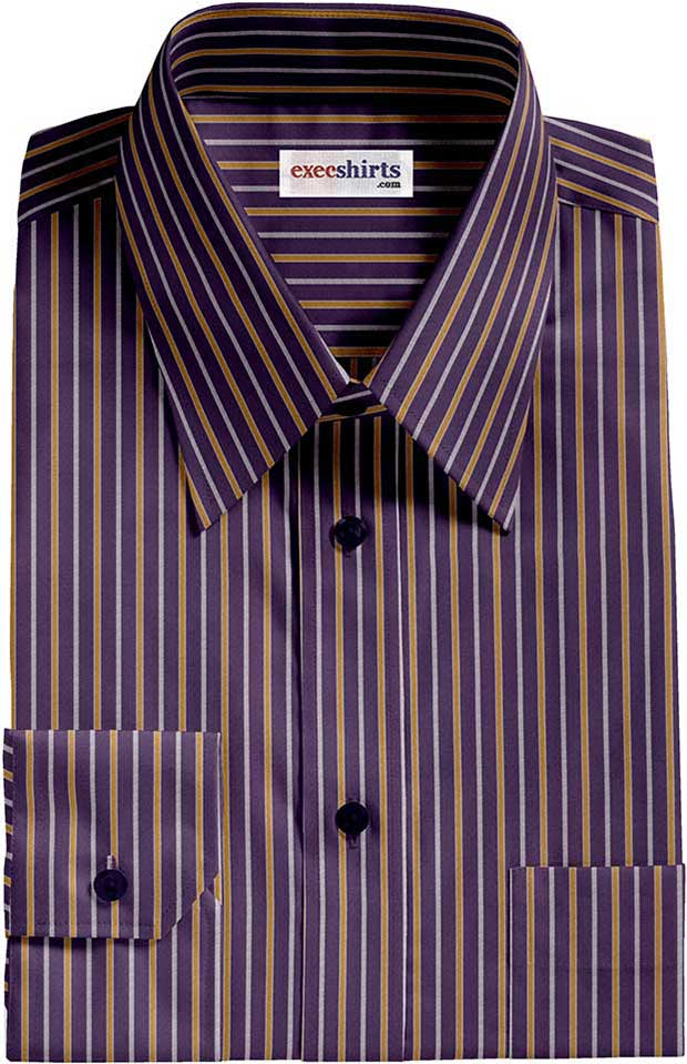 Navy/Yellow Striped Dress Shirt