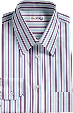Purple/Aqua Striped Dress Shirt