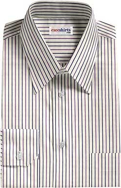 Purple/Blue Striped Dress Shirts With Neck Tie