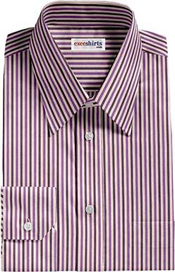 Purple Striped Dress Shirts With Neck Tie