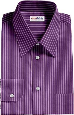 Purple/White Striped Dress Shirt With Neck Tie
