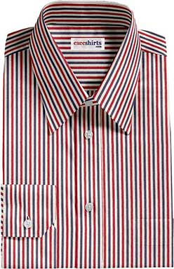 Red/Blue Striped Dress Shirt With Neck Tie