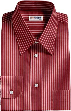 Red/White Striped Dress Shirt With Neck Tie