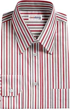 Red/Tan Striped Dress Shirt With Neck Tie