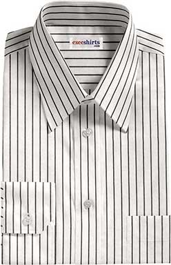 Striped White/Black Dress Shirt With Neck Tie