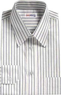 White/Blue Striped Dress Shirt With Neck Tie