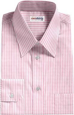 White/Pink Striped Dress Shirts With Neck Tie