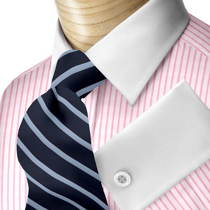 White French Cuff Shirt With Blue Patterns Collar And