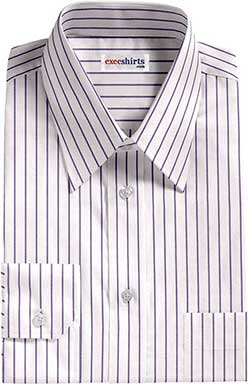White/Purple Striped Dress Shirt With Neck Tie