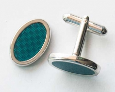 Blue Oval Cuff Links