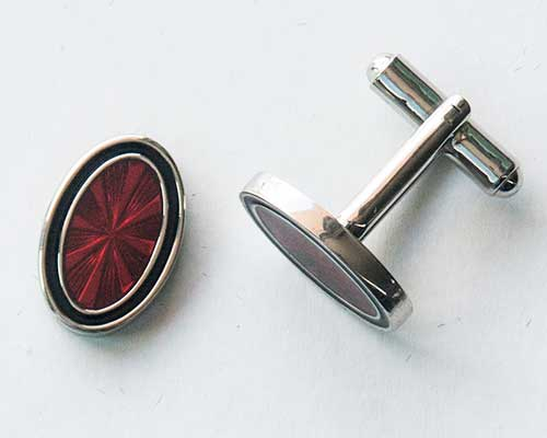Red Oval Cuff Links 2