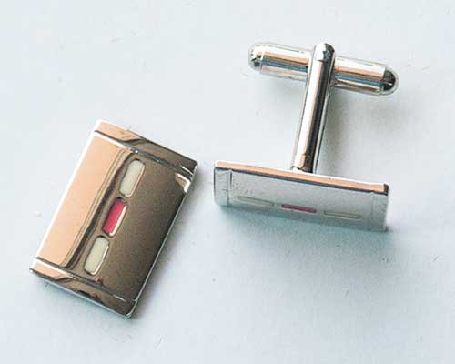White Rectangle Cuff Links