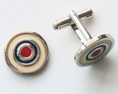White Round Cuff Links