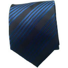 Black/Blue Striped Neck Ties With Neck Tie