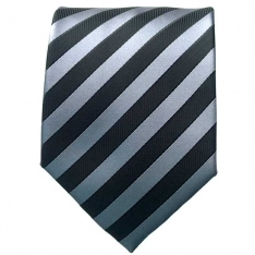 Silver/Black Striped Neck Tie