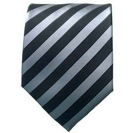 Silver/Black Striped Neck Ties With Neck Tie