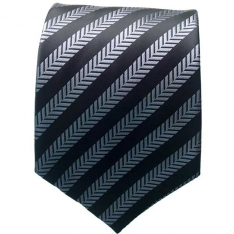 Black/Grey Striped Neck Tie 2