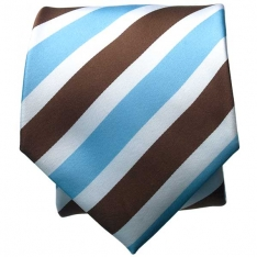 Brown/Lt. Blue Striped Neck Tie