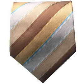 Brown Multi Colored Striped Neck Ties With Neck Tie