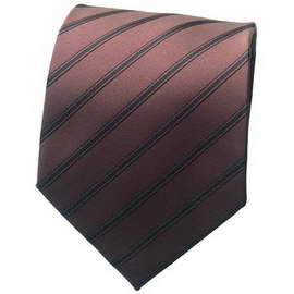 Chocolate Brown Striped Neck Ties With Neck Tie