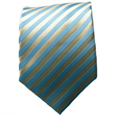 Gold/Lt. Blue Striped Neck Tie