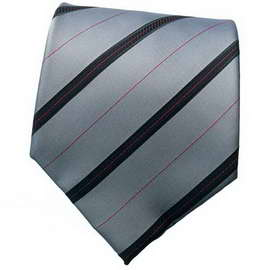 Grey/Black Striped Neck Tie