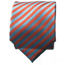 Orange/Light Blue Striped Neck Ties With Neck Tie