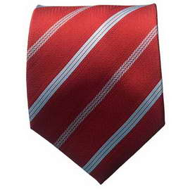 Striped Red/Lt. Blue Neck Tie With Neck Tie