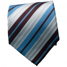 Brown/Lt. Blue Striped Neck Tie 2