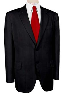 Super 140 Black Wool Suits With Neck Tie