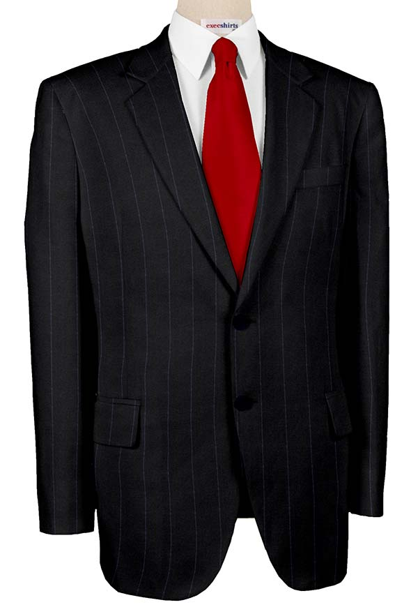 Super 120 Black Suit w/Blue Pinstripes