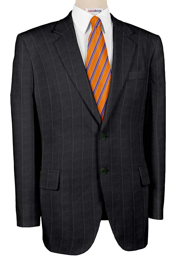 Super 120 Charcoal Suit w/Gray Pinstripes