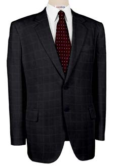 Super 120 Black Checked Weave Suits With Neck Tie