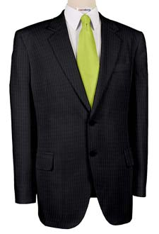 Super 120 Charcoal Striped Men's Suits With Neck Tie