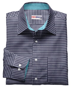 Blue Checked Shirt Aqua Contrasting Collar